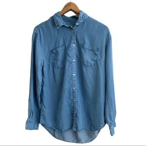 A New Day Button-Down Chambray Top